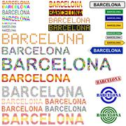 Barcelona text design set - Spanish version - stock illustration