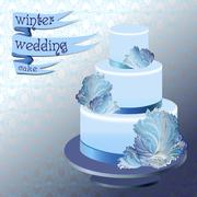 Wedding cake with winter frozen glass design. Vector illustration. - stock illustration