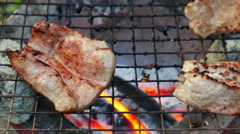 Bar-B-Q or BBQ with kebab cooking. coal grill Stock Footage