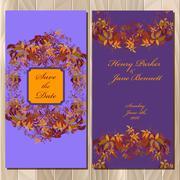 Autumn wild grape wedding invitation card. Printable Vector illustration - stock illustration