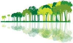 Forest on neutral background Stock Illustration