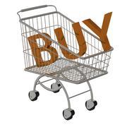 Stock Illustration of Inscription BUY in the supermarket cart.