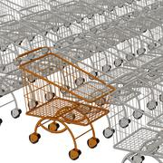 One gold shopping cart and silvery - stock illustration
