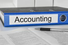 A folder with the label Accounting Stock Photos
