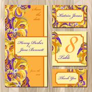 Peacock Feathers wedding card set. Printable Vector illustration - stock illustration