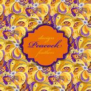 Orange peacock feathers pattern background. Vintage label. - stock illustration
