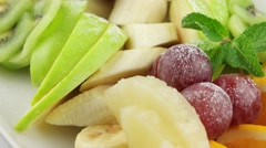 Platter of a assorted fresh fruits - stock footage