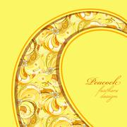 Yellow curl design peacock feathers pattern background. Text place. - stock illustration