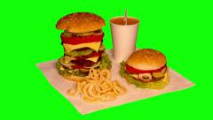 4k – Three-level hamburger and small hamburger on tablecloth Stock Footage