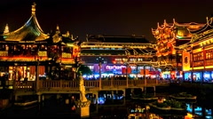 Shanghai old city night view time lapse. 4K resolution. Stock Footage