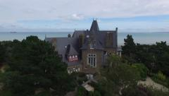 Stock Video Footage of French castle near the ocean in Britain with drone 1