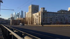 Cars Are Passing by Road or Bridge Moscow Trolleybus Cables Modern Buildings Stock Footage