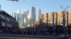 Crowd of People is Walking Across The Road in Moscow Traffic Lights Cars Stop Stock Footage