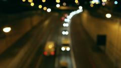 Background of blurred traffic moving at night Stock Footage
