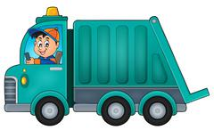 Garbage collection truck theme image - eps10 vector illustration. Piirros