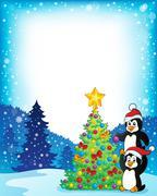 Stock Illustration of Frame with penguins near Christmas tree - eps10 vector illustration.