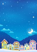 Stock Illustration of Winter theme with Christmas town image - eps10 vector illustration.