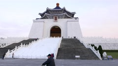 Chiang Kai-Shek Memorial Hall pan shot, dusk time, evening lighting Stock Footage