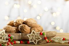 Wallnuts with Christmas decoration Stock Photos