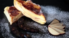 Bread And Butter Pudding With Sifted Sugar Stock Footage