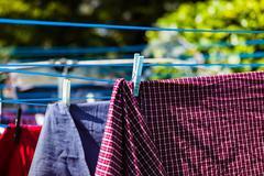 Laundry on washing line Stock Photos
