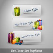 Business winter stickers with gifts. Vector design elements. - stock illustration