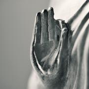 The hand of buddha in gyan mudra, in duotone Stock Photos