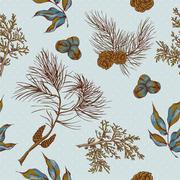Christmas vintage seamless background with owls, spruce branches Stock Illustration