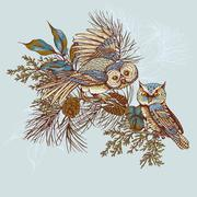 Ghristmas greeting card with owls, spruce and fir cones - stock illustration