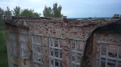 Abandoned school with a bird's-eye view Stock Footage
