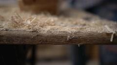 crumbling wood shavings - stock footage