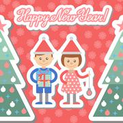 Boy and girl with gifts decorate Christmas tree. Postcard. Stock Illustration