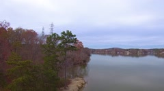 Aerial landscape fly over lake wylie south carolina Stock Footage