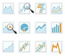 Statistics and analytics data icons with diagrams Stock Illustration