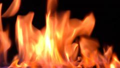 Stock Video Footage of fire, flames, black background, studio shot