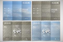 Stock Illustration of Vector set of tri-fold brochure design template on both sides. Dry land and blue