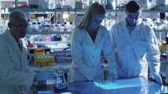 Team of scientists are working on a digital touch screen in a laboratory Stock Footage