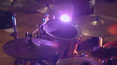 Black drum kit with powerful speaker in background Stock Footage