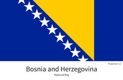 National flag of Bosnia and Herzegovina with correct proportions, element - stock illustration
