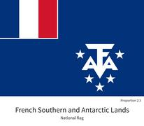 National flag of French Southern and Antarctic Lands with correct proportions - stock illustration