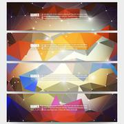Set of modern vector banners. Abstract multicolored background. Scientific - stock illustration
