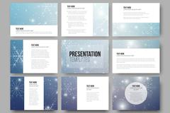 Set of 9 templates for presentation slides. Blue abstract winter background Stock Illustration