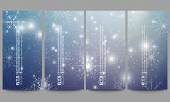 Stock Illustration of Set of modern flyers. Blue abstract winter background. Christmas vector style