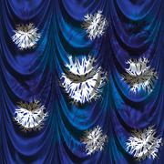Curtain with snowflakes - stock illustration