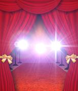 Curtains and red carpet - stock illustration