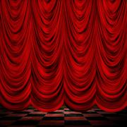 Decoretive red curtains with floor Stock Illustration