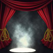 Dramatic theater stage with spotlights - stock illustration