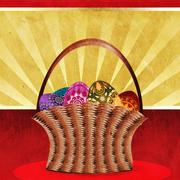 Easter card with basket of eggs Stock Illustration