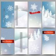 Set of modern flyers. Merry Christmas and happy New Year vector background Stock Illustration