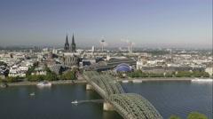 Dramatic HDR 4K UHD Cologne Köln Skyline Kölner Dom Cathedral Germany Stock Footage